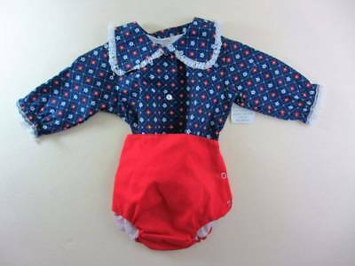 childrens vintage outfit rubber nappy floral blouse red pants 18 months 60's NWT