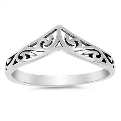 Filigree Celtic Chevron Thumb Ring 925 Sterling Silver Band Sizes 3-12 NEW
