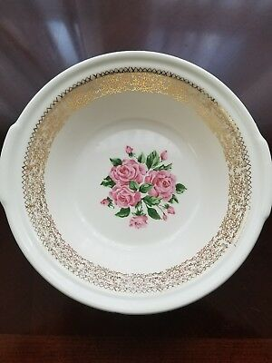 Sebring China Bouquet - Pink Roses, 22k Gold Round Covered Vegetable Bowl 9 in.