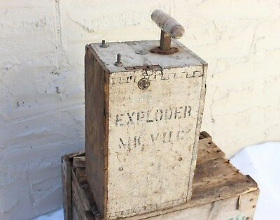 Antique Exploder BLASTING MACHINE plunger box for dynamite Military Mining Tool
