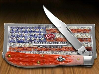 CASE XX Jigged Burnt Salmon Bone Slimline Trapper Stainless Pocket Knives Knife
