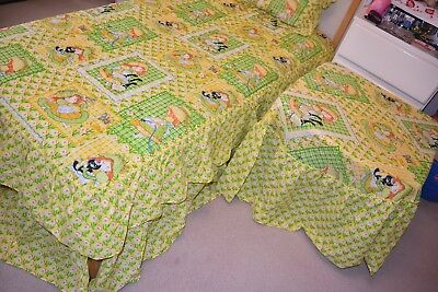 Vtg 3 Sears Holly Hobbie Twin Bedspread,Table cloth, Quilted Ruffle Pillowcase.