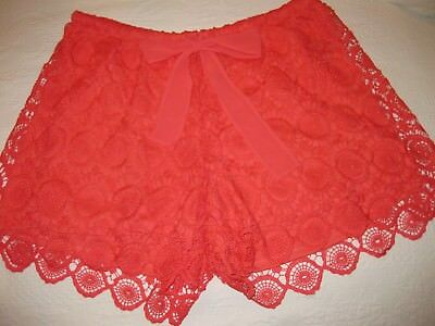 Heartsoulplus Orange Crocheted-Look Shorts, Fully Lined, Size 1X. Fully Lined