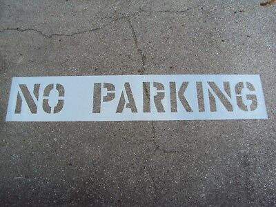 "12"" NO PARKING Parking Lot Stencil 1/16"" (.063""), LDPE Big Edges Easy To Read"