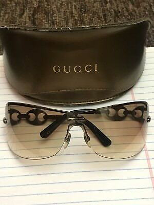 Authentic GUCCI Women's Gold/Brown Rimless Aviator Sunglasses with Original case