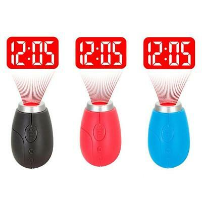 Portable LED Projector Digital Time Clock Wall Projection Flashlight