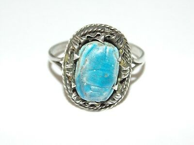 Vintage Sterling Silver Egypt Egyptian Cartouche Blue Carved Scarab Ring Sz 9.75