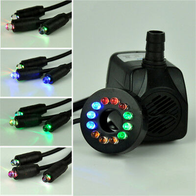 Hot ! 10W Submersible Water Pump with 12 LED Light For Aquarium Rockery Fountain