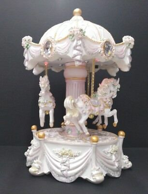 Musical resin horse carousel box with led  lights  birthday home decor H:19cm