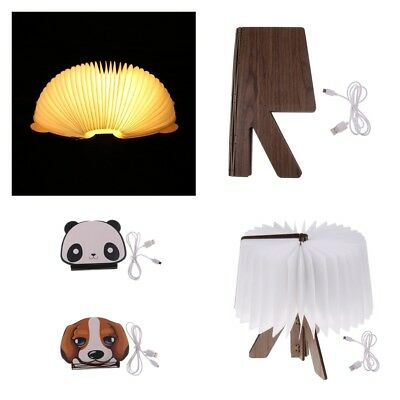 USB Rechargeable Warm White /RGB LED Wooden Folding Book Light Desk Night Lamp