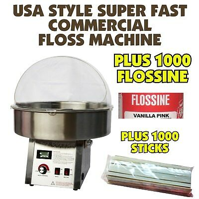 Fairy Floss Machine - Super Fast - Inc 1000 Stick Starter Pack - Commercial NEW
