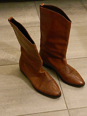 Stivali texani ricamati vintage marroni vtg tan embroidered texan boots US7.5 38