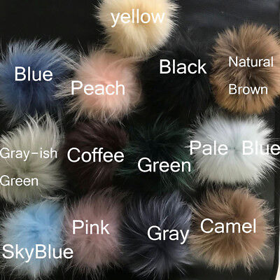 13cm-15cm Real Raccoon Fur Ball Pompom W Snap Button f Hat Shoes DIY Accessories