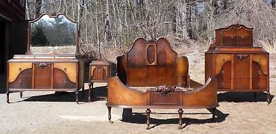 Antique H Herrmann French Art Deco Bedroom Set Dressers Mirror Bed Nightstand
