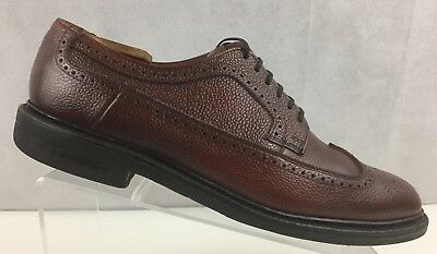Hanover Imperial Vintage Wing Tip Pebbled Leather Lace-Up Oxford Mens Shoe 10.5D