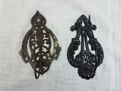 Early Ornate Cast Iron Mercantile Wall Mounted Spike Receipt Holders Lot of 2