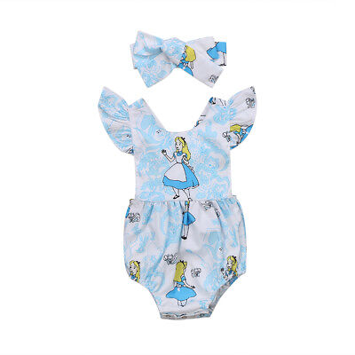NEW Alice in Wonderland Baby Girls Romper Bodysuit Headband Outfit Set
