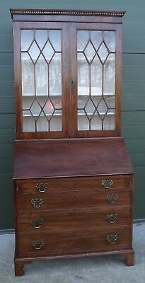 Antique Victorian Mahogany Bureau Bookcase Desk Chest Of Drawers Astral-Glazed