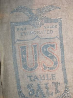 VINTAGE Salt Bag - Cloth - US Table Salt Union Salt Co. Ohio - 2 Sided 8 lb Sack