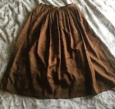 Vintage Orvis Bird Skirt With Button Waist And Pleated Detail