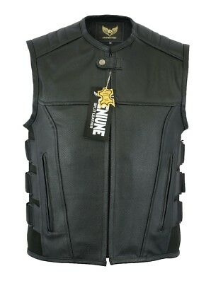 Men's SWAT Motorcycle Leather vest with two concealed gun pockets -FAST Shipping