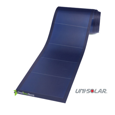 UniSolar PVL-124 Amorphous Solar Laminates with peel-n-stick adhesive back.