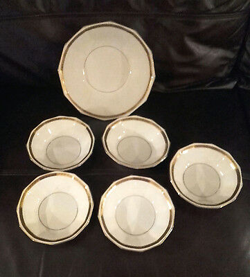 Vintage Grays Pottery - 5 Soup/Cereal Bowl & 1 Large Fruit/Salad/Veg Bowl
