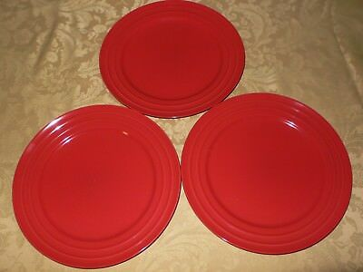 Rachael Ray Double Ridge Red SET OF 3 Dinner Plates & RACHAEL RAY Double Ridge Red SET OF 3 Dinner Plates - $19.99 | PicClick