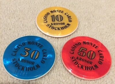 Set Of 3 Casino Chips From Monte Carlo Stockholm