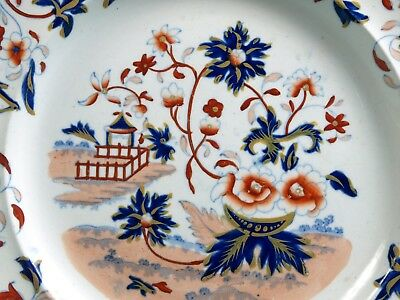 UNIQUE Antique Samuel Alcock &Co. 1830-59 Imari Red Blue Flowers Plate