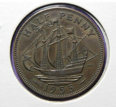 Great Britain 1955 Half Penny Coin Uk Queen Elizabeth-Ii Very Nice Coin