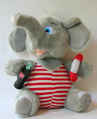 """Elephant 9"""" plush with Coca Cola Coke Bottle from 1993"""