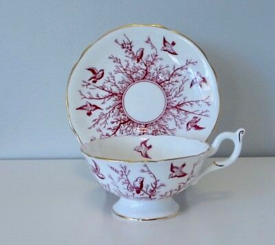 Vintage Coalport Bone China Footed Cup and Saucer Pink Birds and Branches 9676