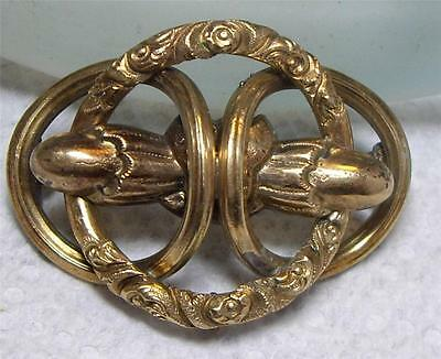 Antique Victorian Gold Filled Pin Brooch Love Knot Sweetheart Hand Chased