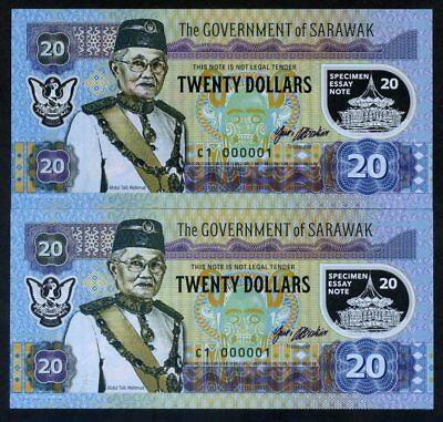SET Sarawak Malaysia 2 x 20 dollars 2017 Private Issue Polymer matching S/ns UNC
