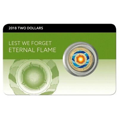 2018 $2 Lest We Forget ANZAC ETERNAL FLAME  Colour Unc on CARD