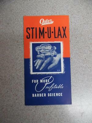 c.1930s OSTER STIM-U-LAX Barber Scalp Massager Machine Brochure Racine Vintage