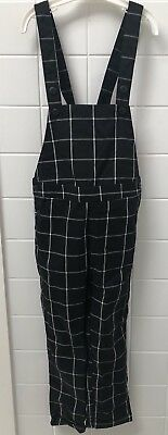 H&M Kids Boys Girls Size 4-5 Black & White Check Overalls New NWOT