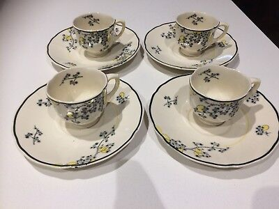Royal Doulton Art Deco Carnival D5565 4 x Coffee Cups and Saucers
