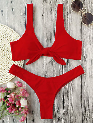 Knotted Padded Thong Bikini Swimwear Womens High Cut Front Tied Bathing Suit