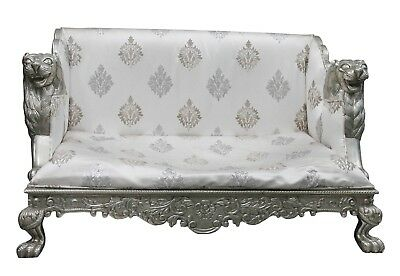 Vintage Collectible Wooden Metal Coated Furniture Embossed Hand Work Sofa US429M