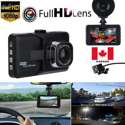 "3"" Dual Lens LCD Car DVR Camera Video Recorder Dash Cam G-Sensor Canada"