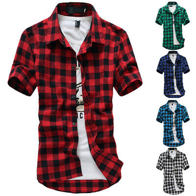HOT ! Summer Mens Casual Shirts Short Sleeve Lattice Shirts Slim Fit Shirts Tops
