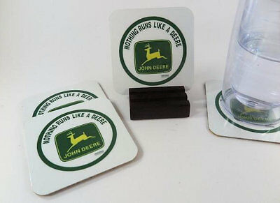 John Deere Metal Coasters. Set of 4 with Mahogany Stand. Free Shipping.