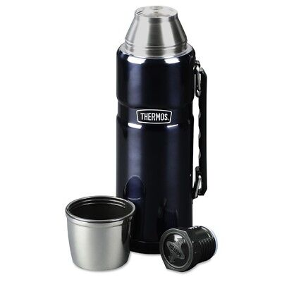 Thermos Stainless Steel King 40 Ounce Beverage Bottle, Dark Blue