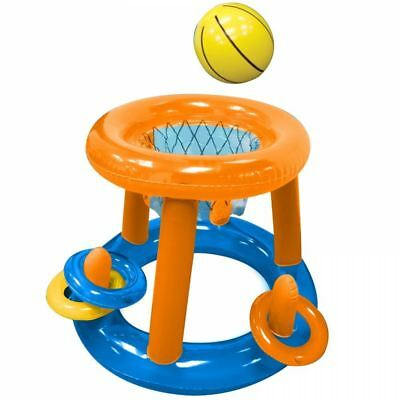 Inflatable Basketball Game Hoop Net Swimming Pool Play Ball Ring Toss Toy Float