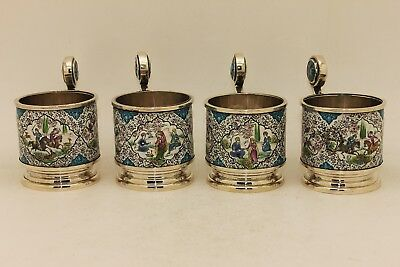 Antique Original Silver Isfahan Persian Perfect Spoon And Cup Set