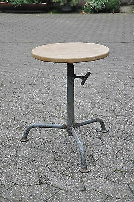 Vintage Stool with Leatherette Cover Work Chair Bauhaus Embru Häfeli Age