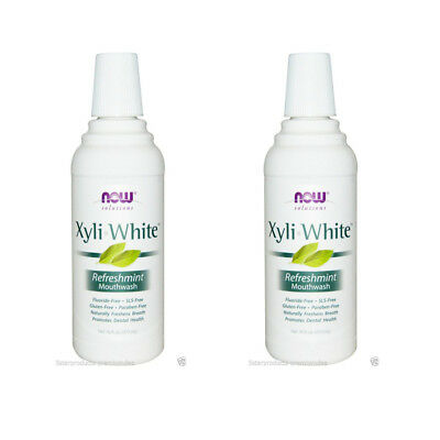 2X NEW NOW FOODS SOLUTIONS XYLI-WHITE MOUTHWASH ORAL CARE REFRESHMINT 16 fl oz
