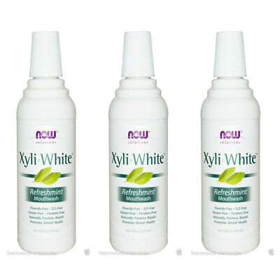 3X NEW NOW FOODS SOLUTIONS XYLI-WHITE MOUTHWASH ORAL CARE REFRESHMINT 16 fl oz